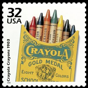 limited set of crayons colors...old picture on stamp